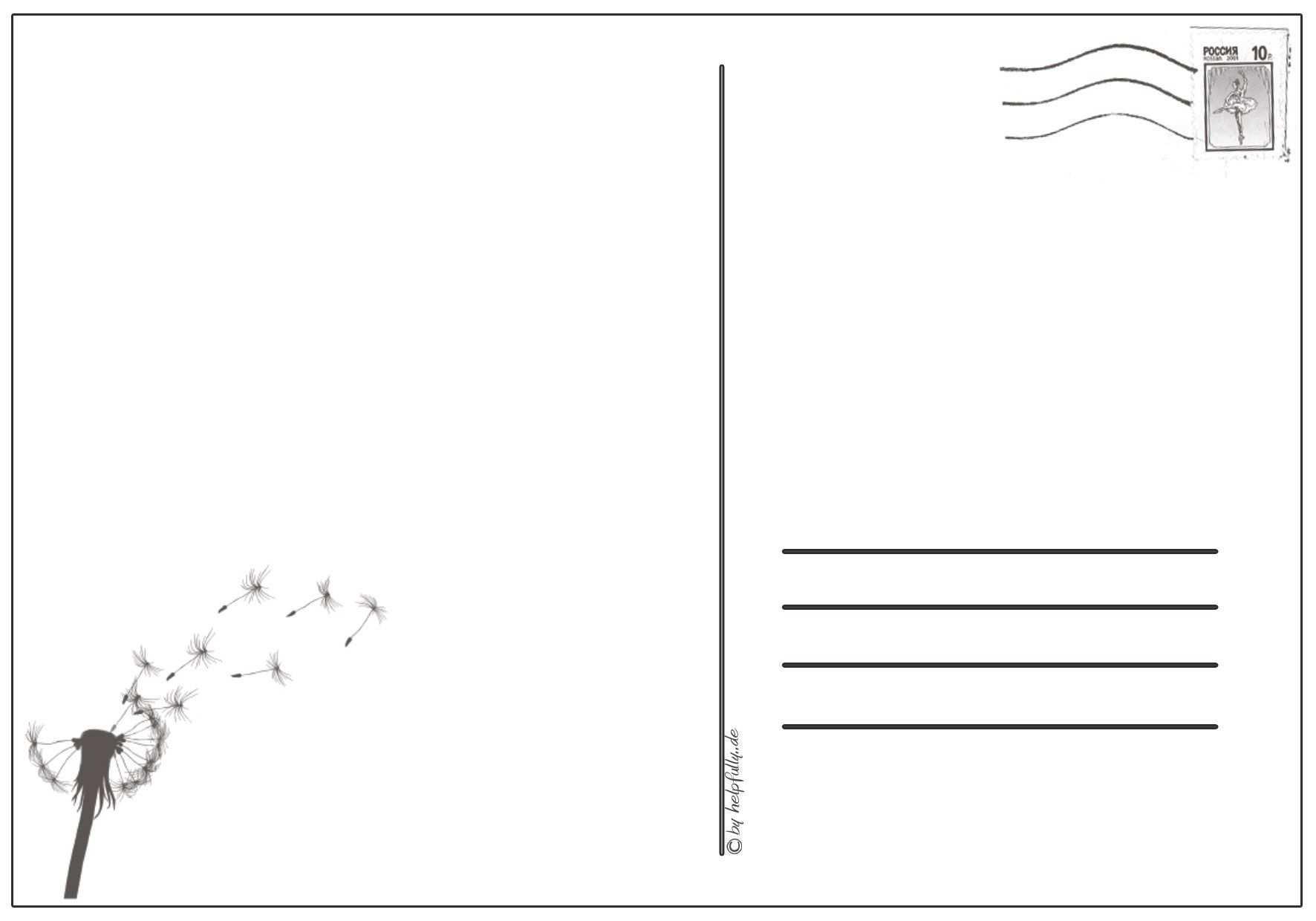 Papiervorlage Postkarte Pusteblume 4 Postkarten Vorlagen Karten