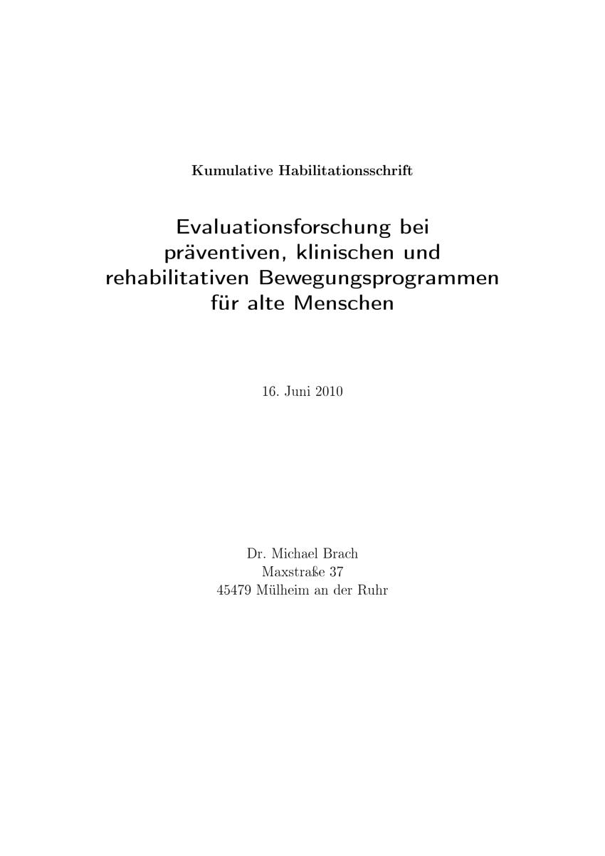 Pdf Evaluationsforschung Bei Praventiven Klinischen Und Rehabilitativen Interventionen Am Beispiel Von Bewegungsprogrammen Fur Alte Menschen