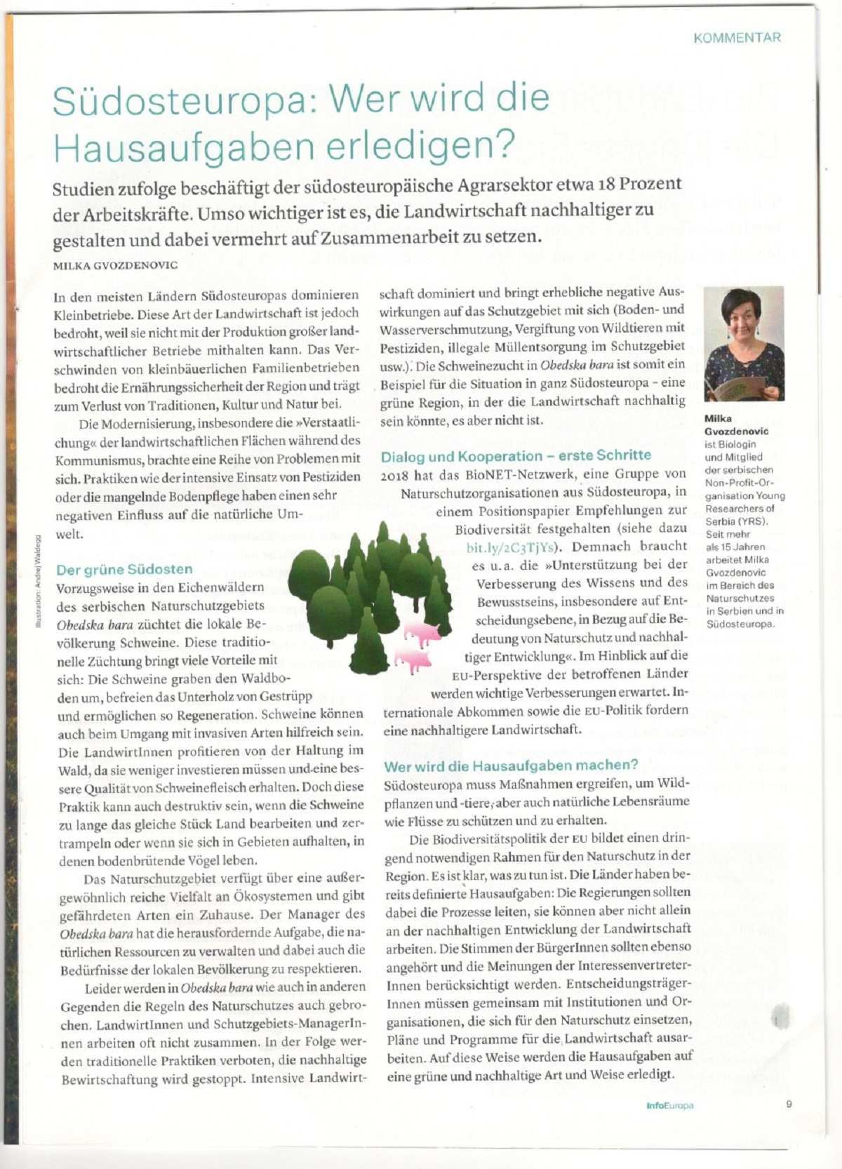 Obedska Bara As An Example Of Sustainable Agriculture An Article Published In Info Europa Die Presse Mladi Istrazhivachi Srbiјe