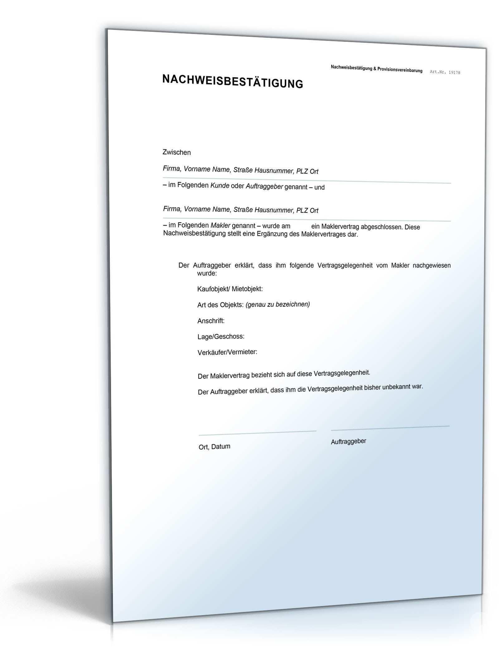 Nachweisbestatigung Makler Und Mieter Vorlage Zum Download