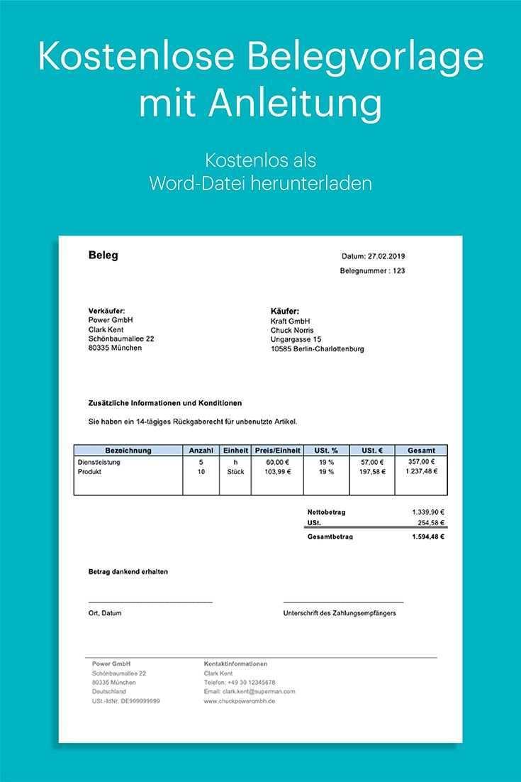 Kostenlose Belegvorlage In Word Mit Anleitung Excel Tipps Rechnung Vorlage Vorlagen