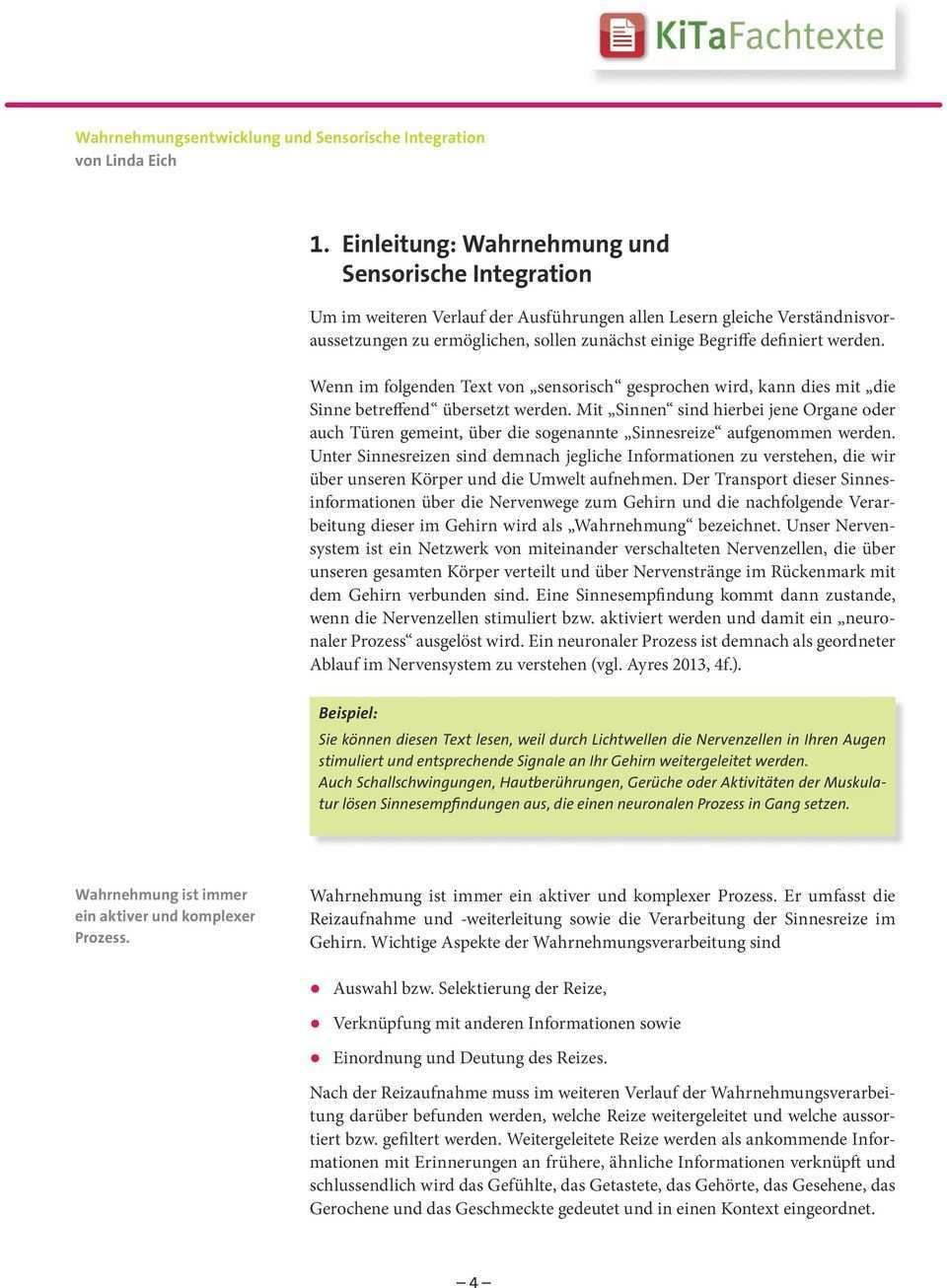 Wahrnehmungsentwicklung Und Sensorische Integration Pdf Free Download