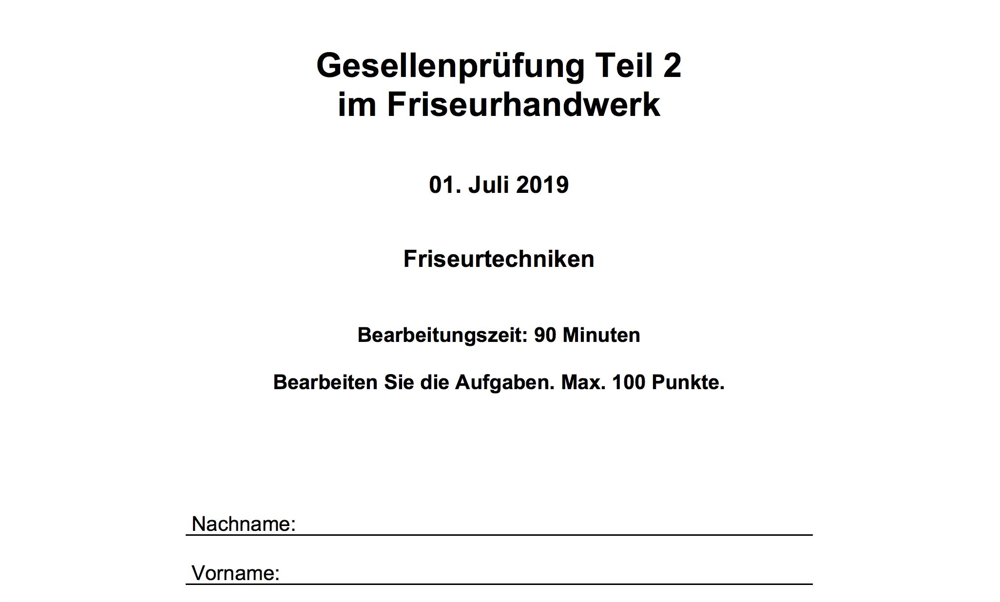 Gesellenprufung Landesinnungsverband Des Bayerischen Friseurhandwerks