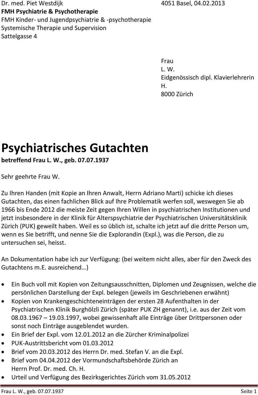 Psychiatrisches Gutachten Betreffend Frau L W Geb Pdf Free Download