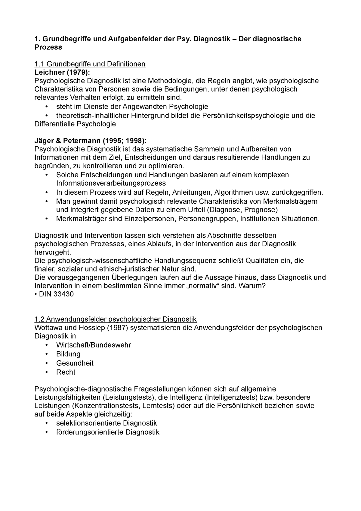 Zusammenfassung Diagnostik Studocu