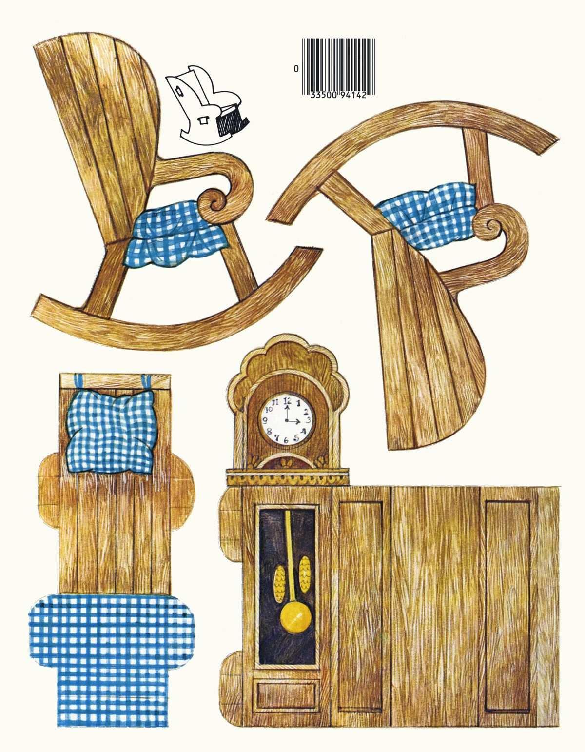 Grandmother S Rocking Chair Puppenmobel Papierpuppen Kinder Basteln Vorlagen