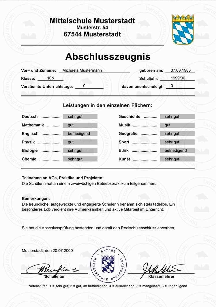 Hauptschulabschlusszeugnis Kaufen Mittlerer Schulabschluss Sekundarabschluss I Fachoberschulreife Mittlerer Bil Realschulabschluss Realschule Hauptschule