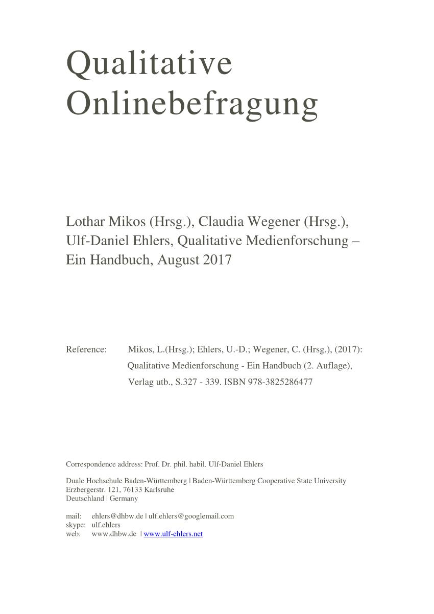 Pdf Qualitative Onlinebefragung