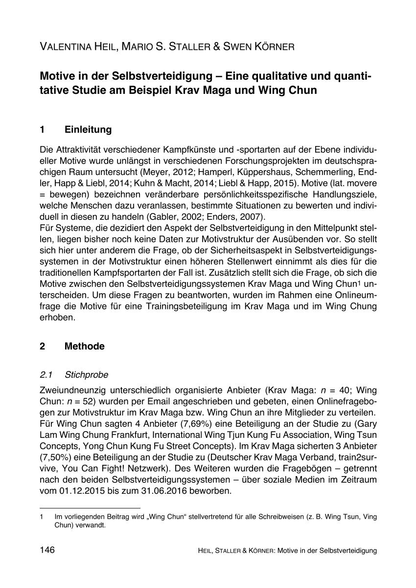 Pdf Motive In Der Selbstverteidigung Eine Qualitative Und Quantitative Studie Am Beispiel Krav Maga Und Wing Chun