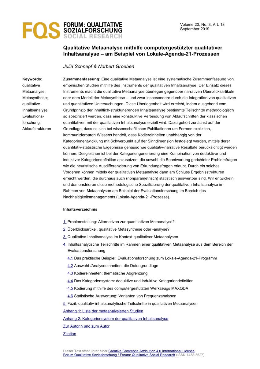 Pdf Qualitative Metaanalyse Mithilfe Computergestutzter Qualitativer Inhaltsanalyse Am Beispiel Von Lokale Agenda 21 Prozessen
