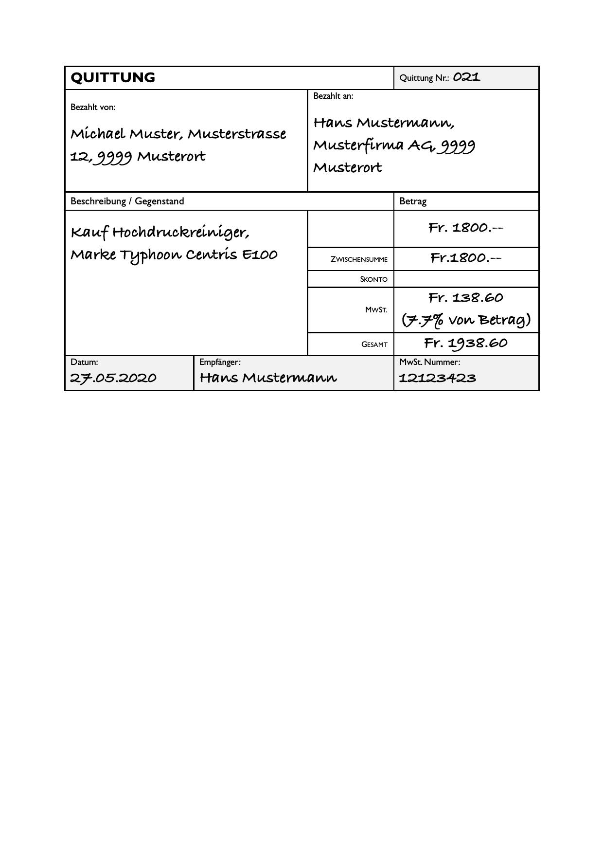 Quittungsvorlage Barzahlung Kostenlos Herunterladen