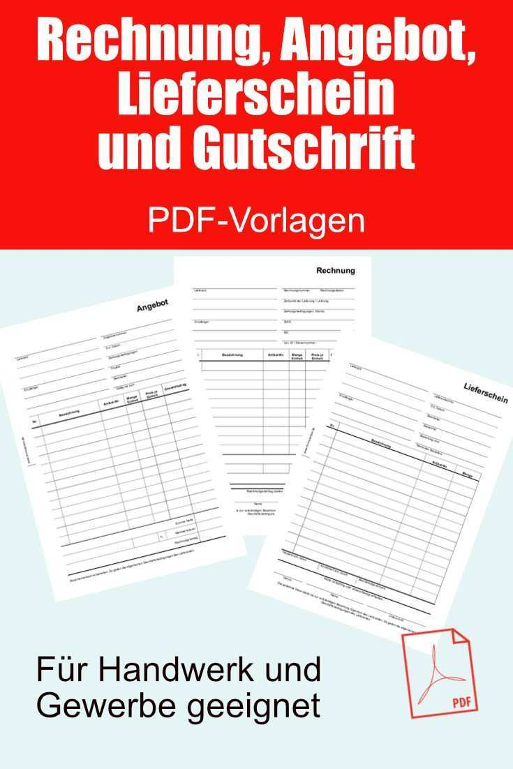 Rechnung Angebot Lieferschein Und Gutschrift Als Pdf Datei Rechnungsvorlage Vorlagen Rechnung Vorlage