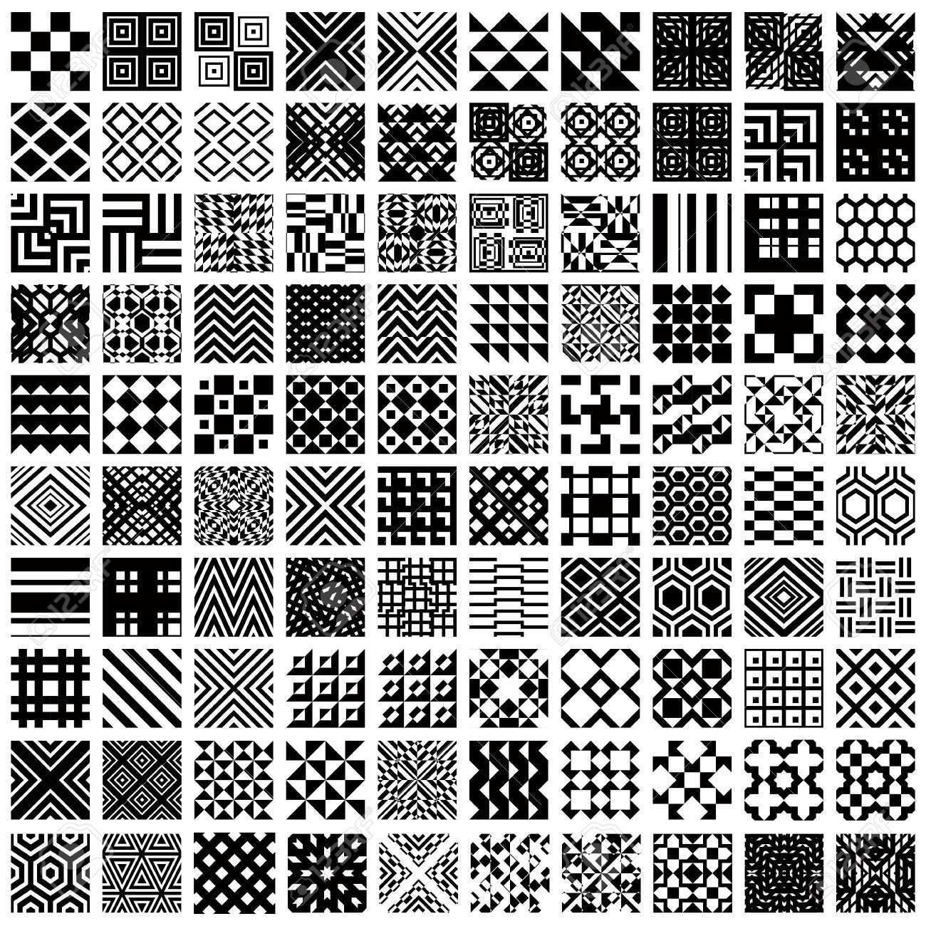 100 Geometrische Nahtlose Muster Eingestellt Schwarz Und Weiss Vektor Hintergrunde Sammlung Vektor Hintergrund Geometrisch Muster Zeichnung