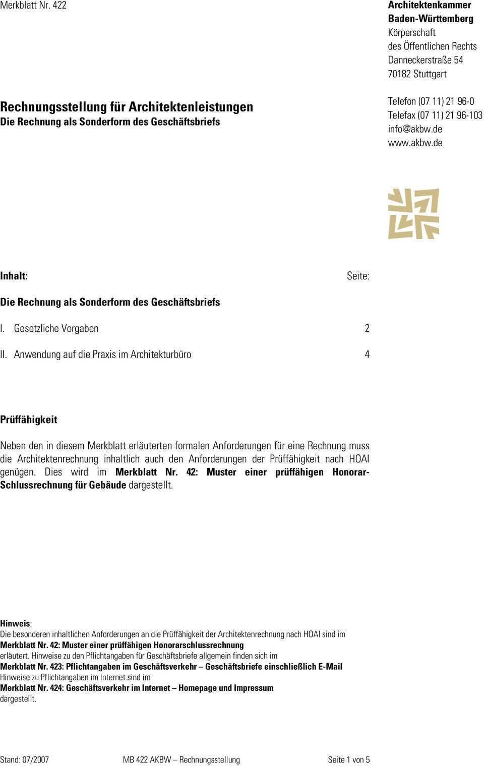 Rechnungsstellung Fur Architektenleistungen Die Rechnung Als Sonderform Des Geschaftsbriefs Pdf Free Download