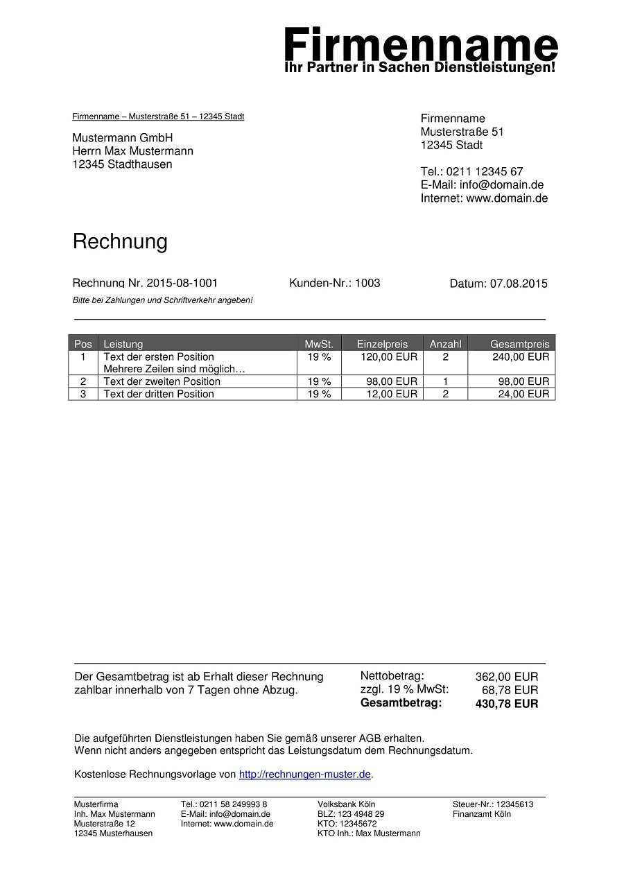 Rechnungsvorlagen Kostenlos Rechnungsvorlage Fur Jeden Zweck