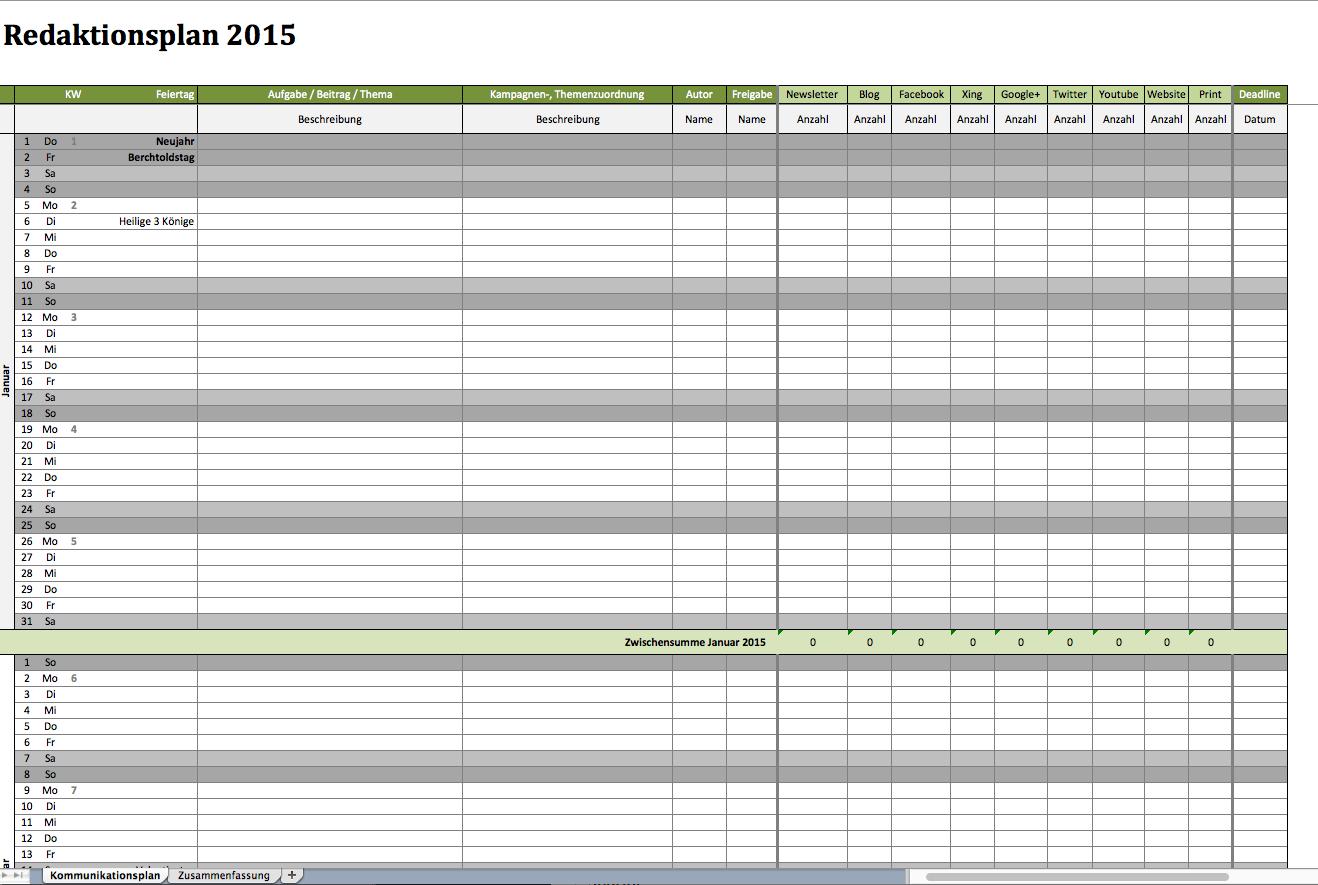 Redaktionsplan Als Excelvorlage