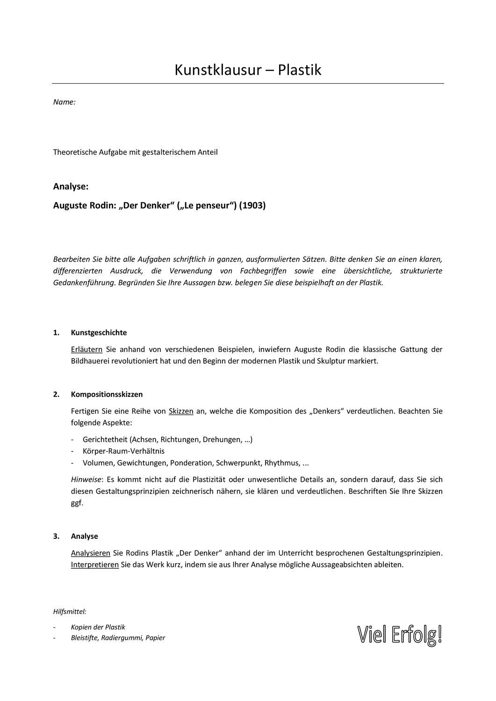 Kunstklausur Plastik Rodin Unterrichtsmaterial Im Fach Kunst Unterrichtsmaterial Farben Lehre Plastik