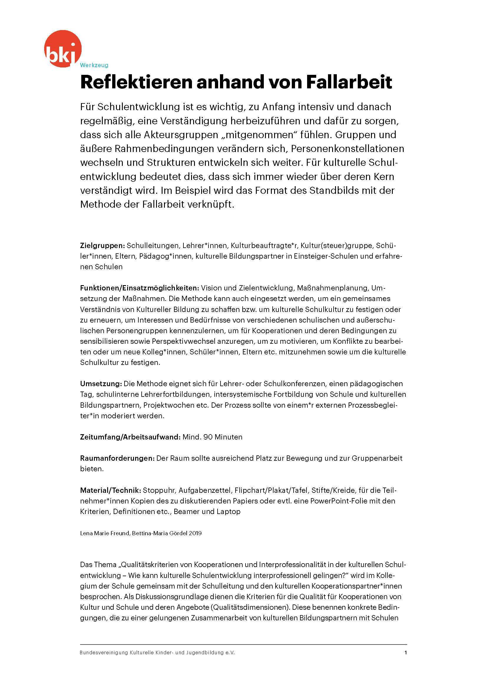 Reflektieren Anhand Von Fallarbeit Bundesvereinigung Kulturelle Kinder Und Jugendbildung E V Bkj