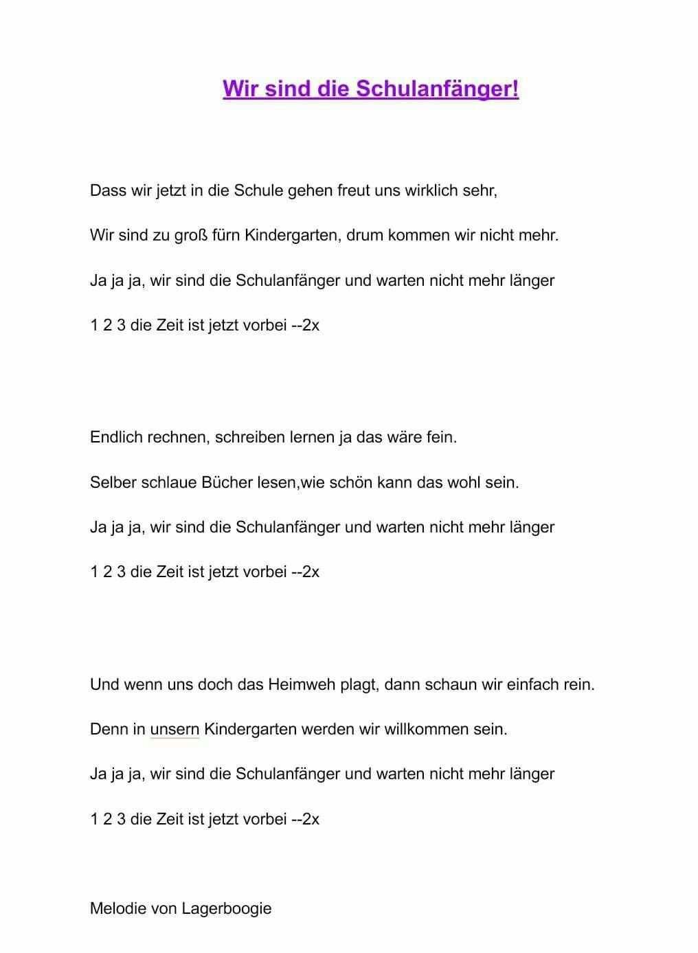 1 Klasse Vorschullieder Gedichte Zum Schulanfang Kindergarten Lieder