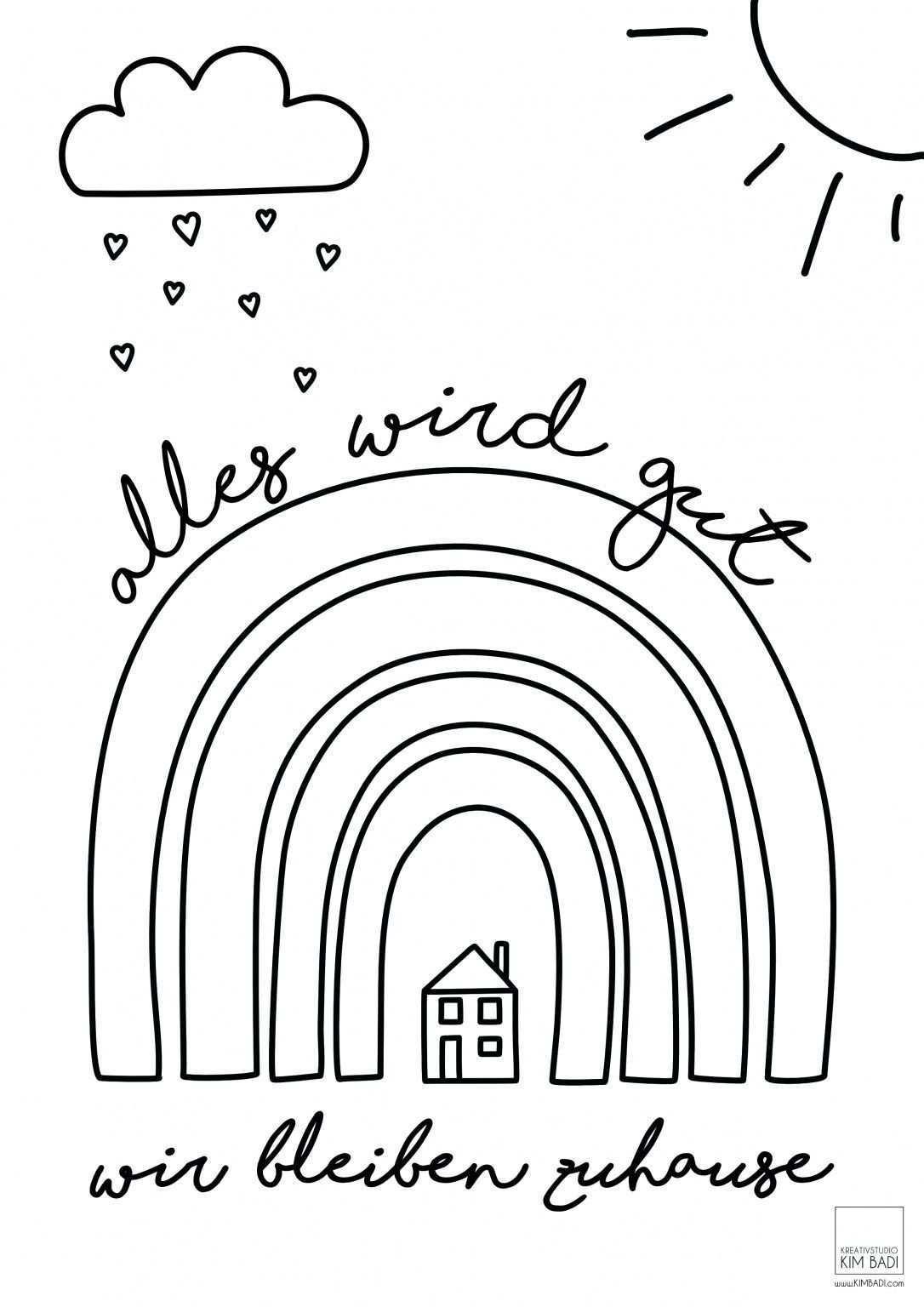 Wir Bleiben Zuhause Kreativstudio Kim Badi Schule Schule Malen In 2020 Bleib Zu Hause Regenbogen Kindergarten Basteln Und Lernen