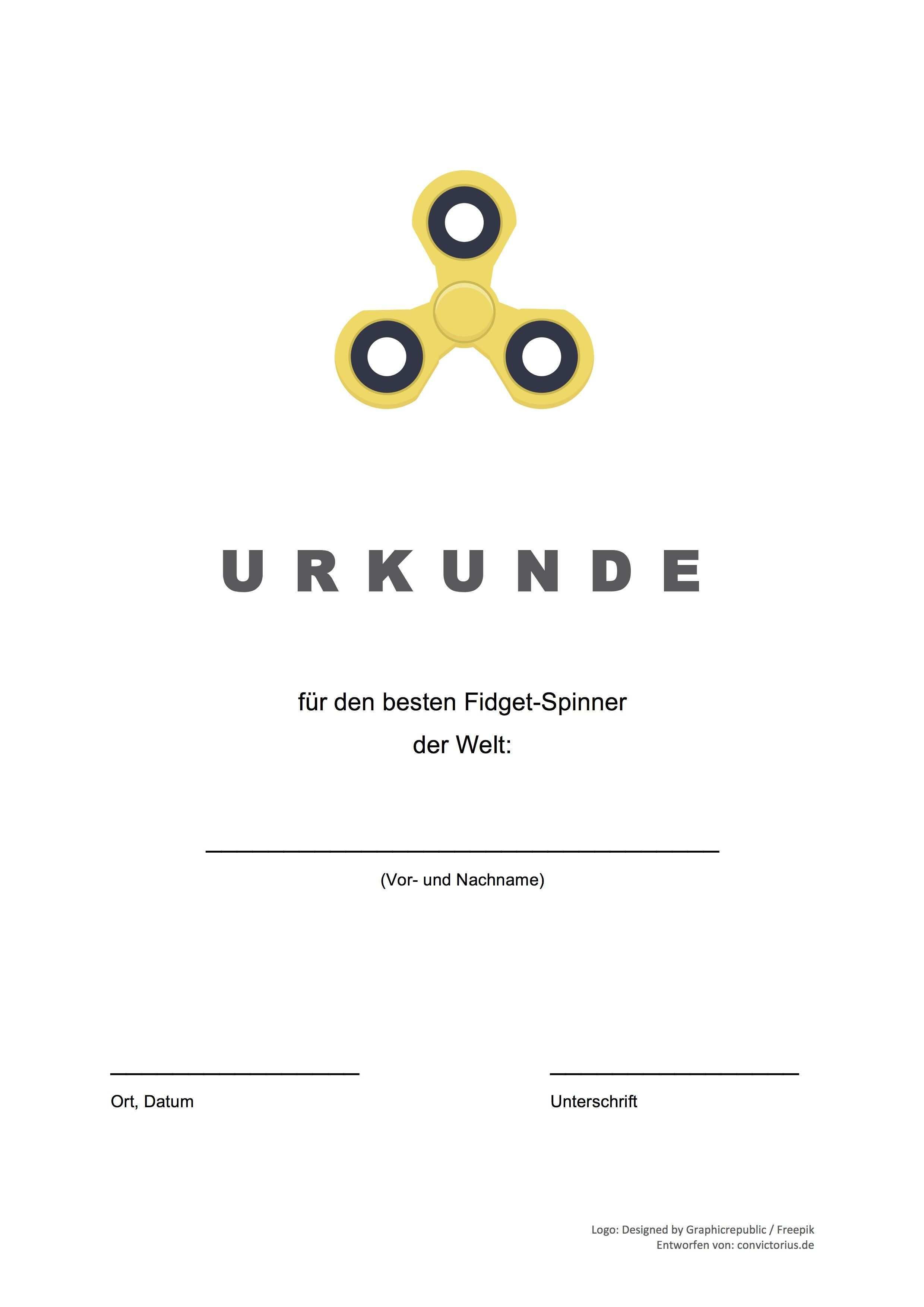 Gratis Vorlage Fidget Spinner Urkunde Word Pdf Vorlage Urkunde Urkunde Urkunden Selbst Gestalten