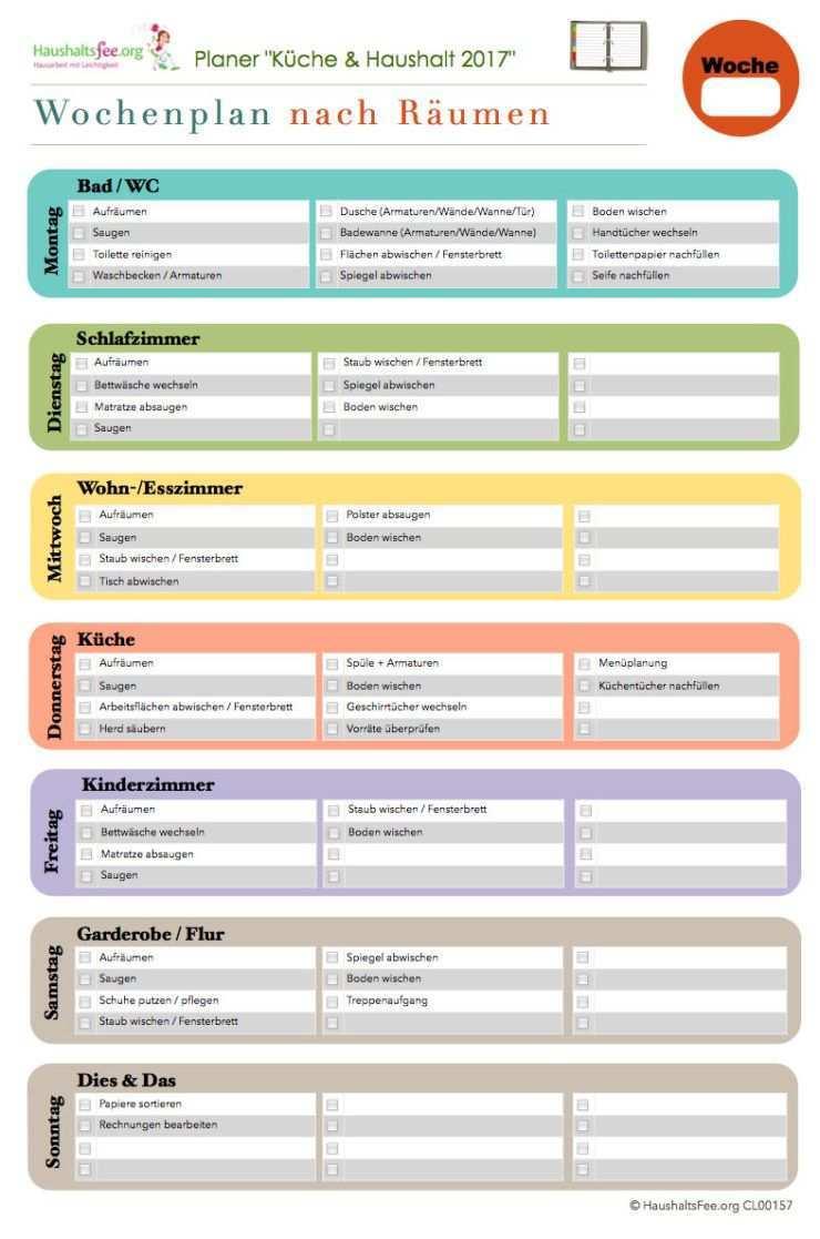Putzplan Hausarbeit Haushaltsfee Haushalt Haushaltsplaner