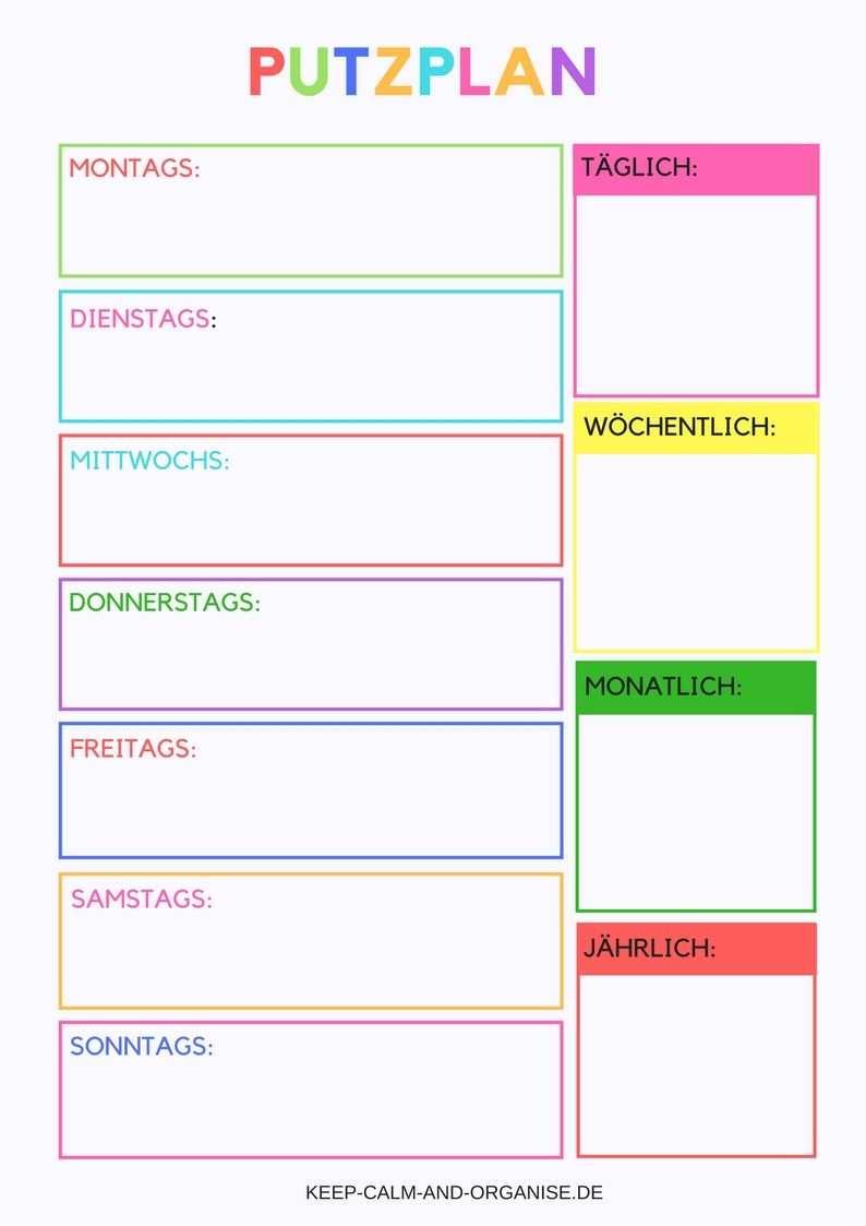 Putzplan Putzplan Deutsch Putzplan Vorlage Putzplan Familie Putzplan Wg Putzplan Ausdrucken Putzplan Reinigungsplan Vorlagen Planer Vorlagen Putzplan Wg