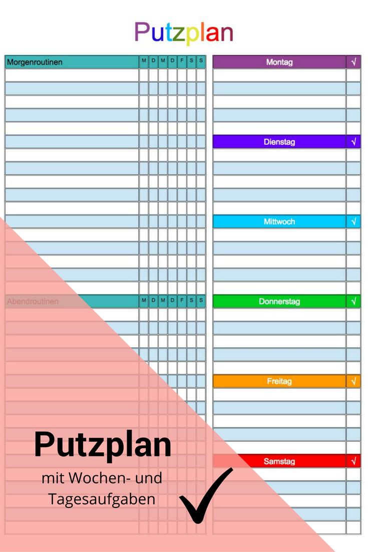 Bibliothek Reinigungsplan Vorlagen Haushalts Ordner Putzplan