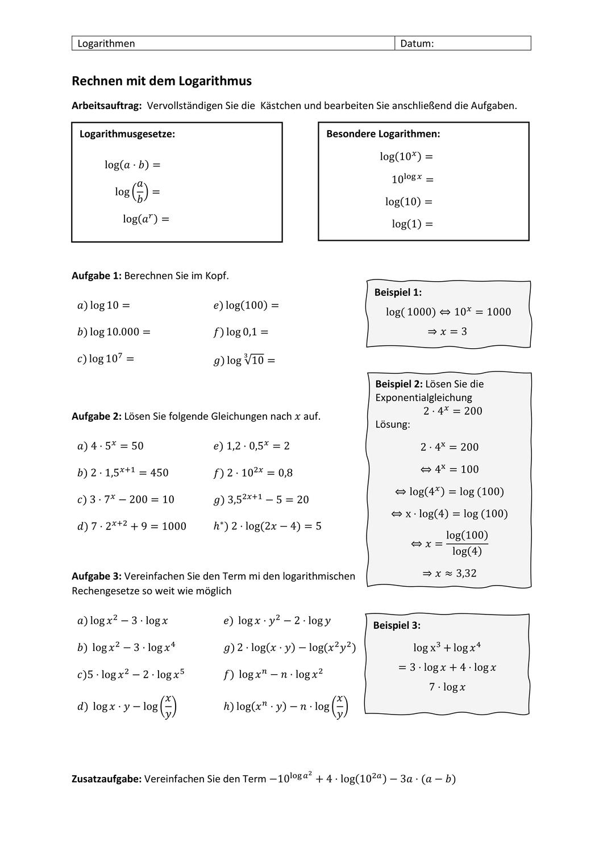Rechenaufgaben Logarithmus Unterrichtsmaterial Im Fach Mathematik Rechnen Mathematikunterricht Mathematik