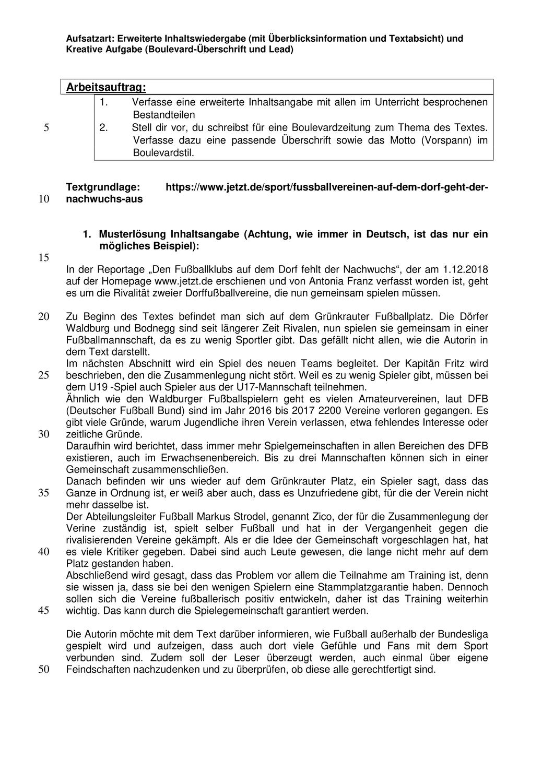 Beispiel Fur Eine Inhaltsangabe Unterrichtsmaterial Im Fach Deutsch Inhaltsangabe Unterrichtsmaterial Deutsch Unterricht