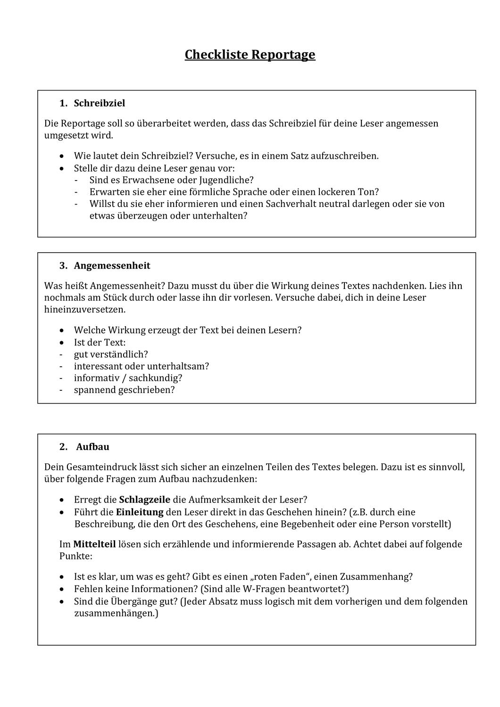 Checkliste Reportage Unterrichtsmaterial Im Fach Deutsch Checkliste Unterrichtsmaterial Unterrichtsvorbereitung