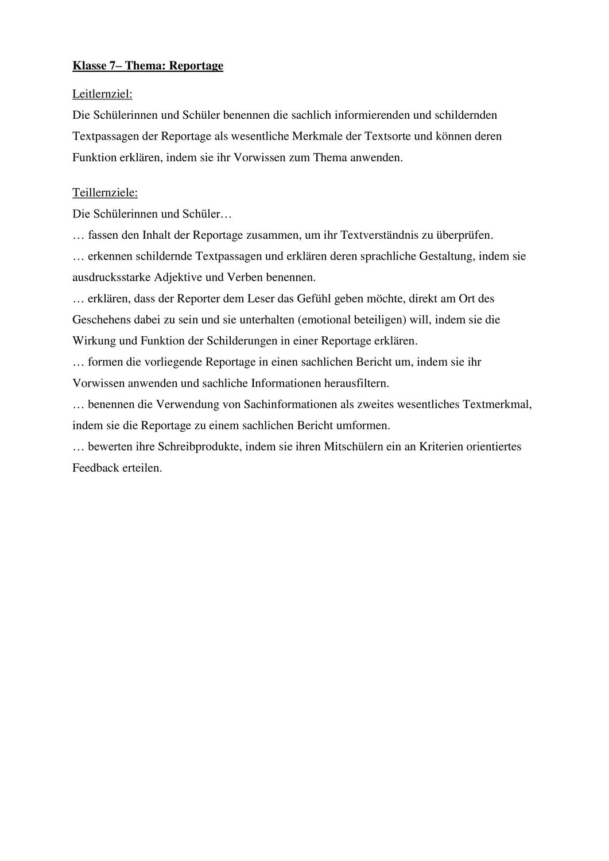 Reportage Kl 7 Unterrichtsmaterial Im Fach Deutsch Lernen Unterrichtsmaterial Deutsch Lernen