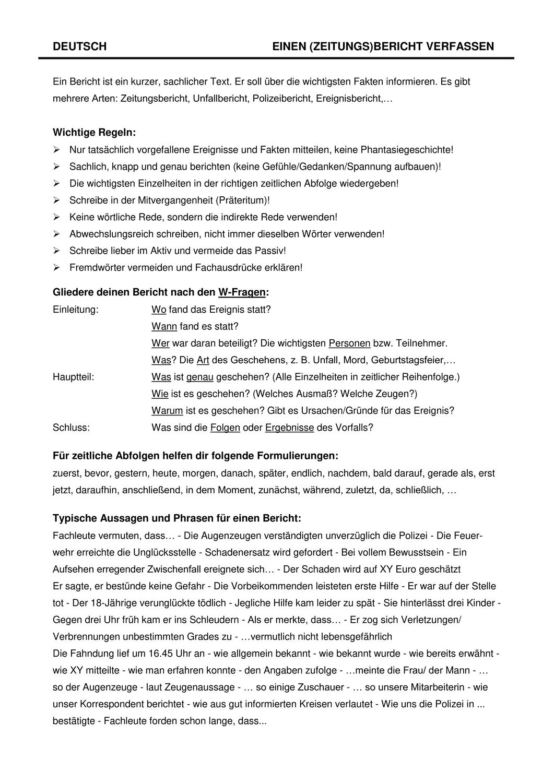 Zeitungs Bericht Unterrichtsmaterial Im Fach Deutsch Unterrichtsmaterial Unterrichtsvorbereitung Deutsch Lernen