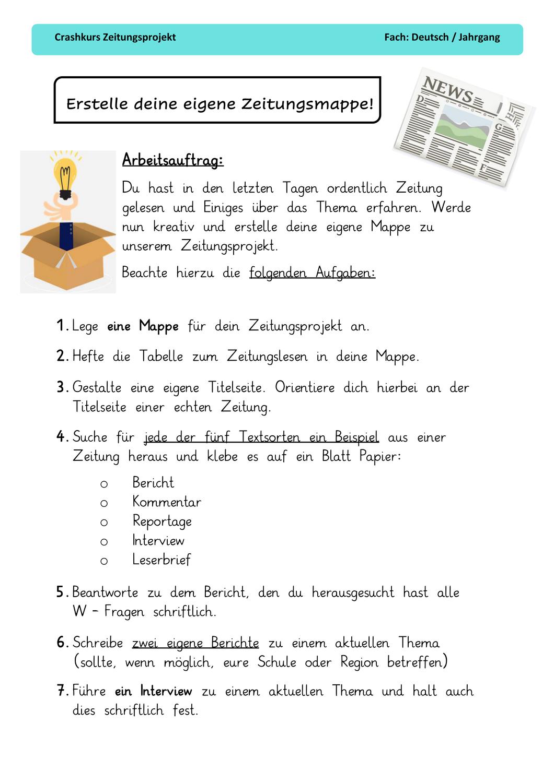 Leitfaden Erstelle Deine Eigene Zeitungsmappe Zeitung Unterrichtsmaterial Leitfaden