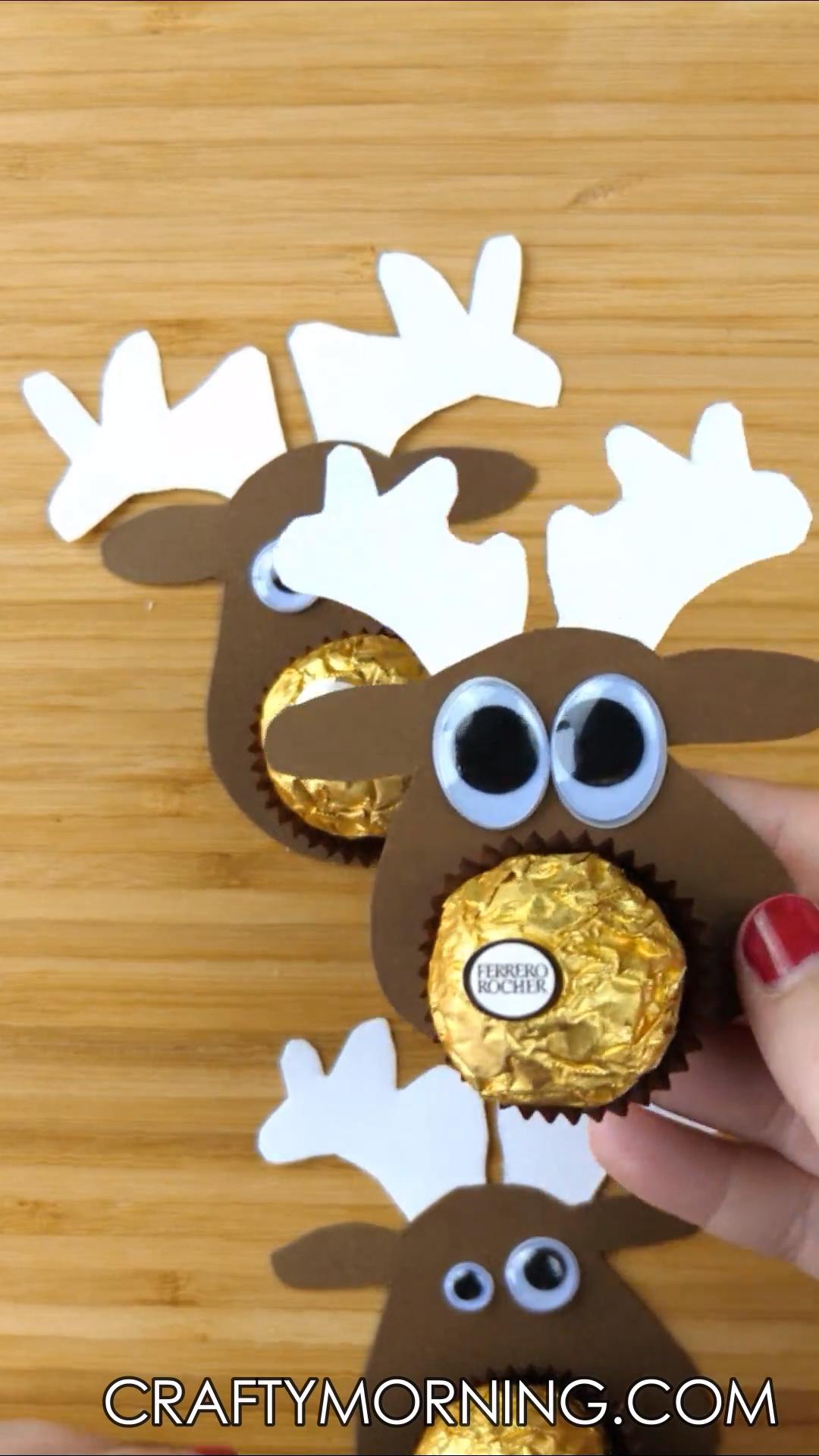 Ferrero Rocher Chocolate Reindeer Treats Video Rocher Schokolade Weihnachten Und Kinderbasteleien