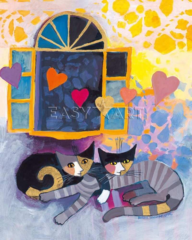 Ti Amo Rosina Wachtmeister Kattenschilderijen Katten Tekening Kattenkunst