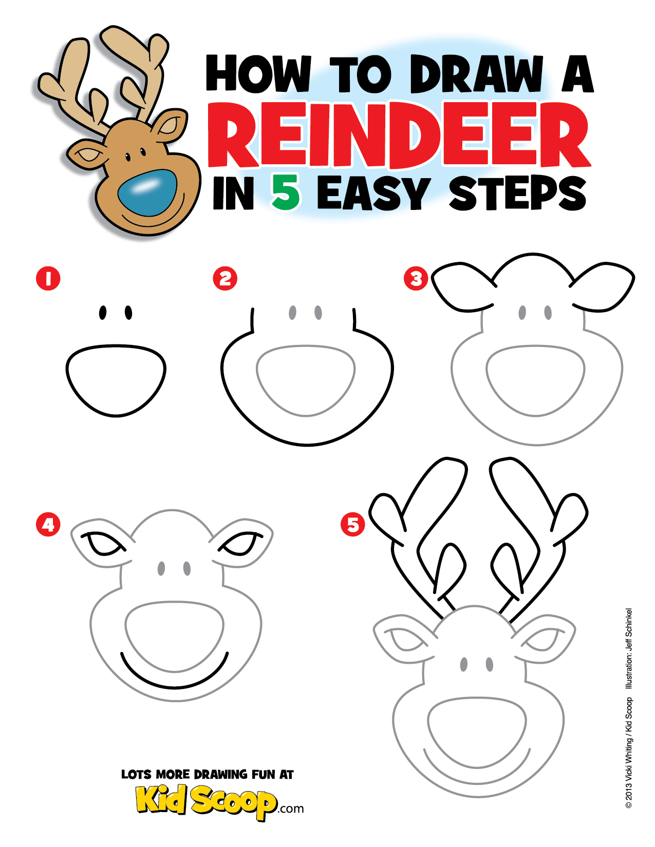 Use This Step By Step Guide With Your Child Or Students And Learn How To Draw A Reindeer Www Kidscoop Com Christmas Drawing Christmas Art Christmas Doodles