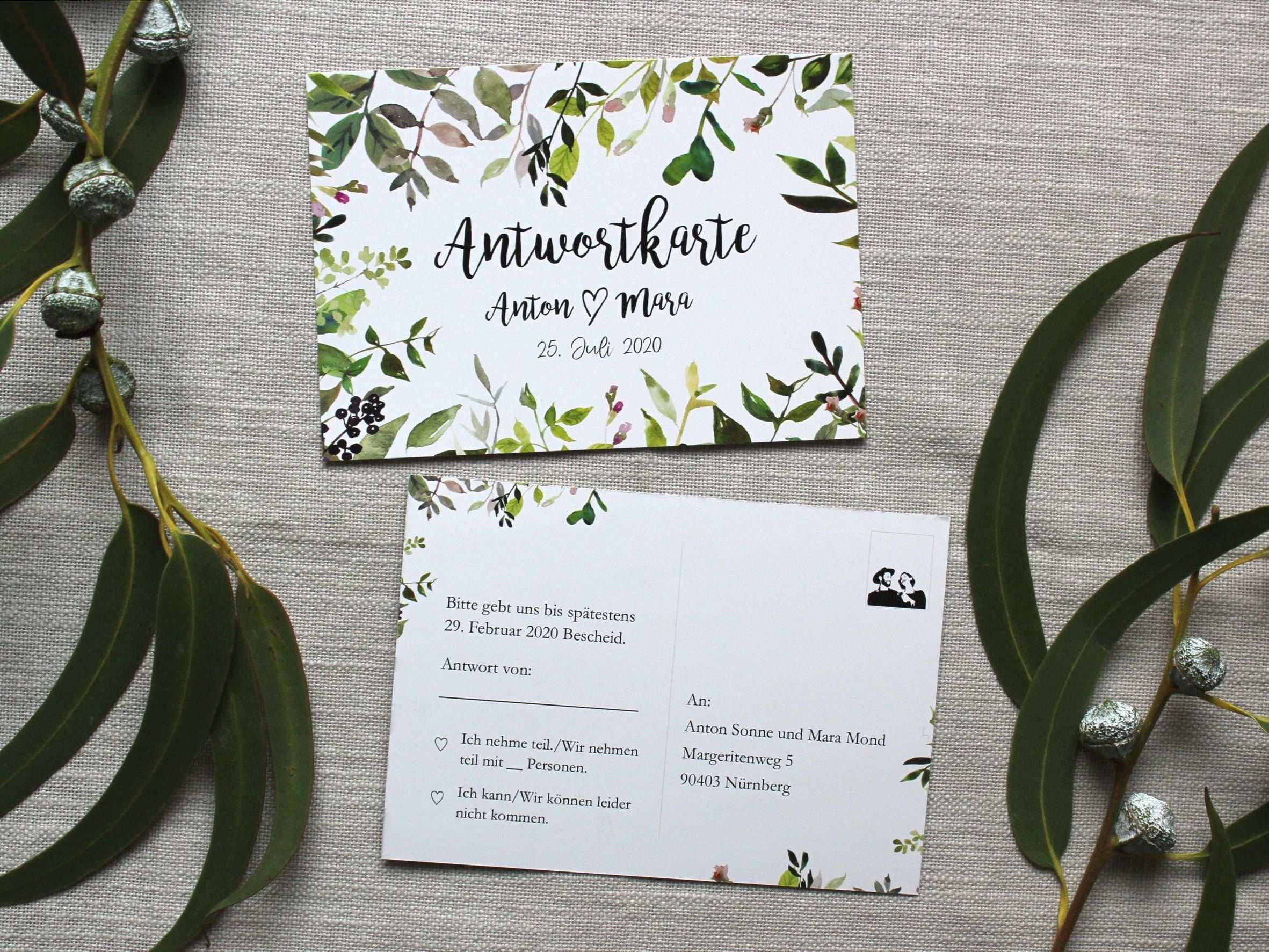 Antwortkarte Zur Hochzeitseinladung Greenery Postkarte Antwortkarten Hochzeit Ruckantwort Einladung Einladungskarten Hochzeit Wedding Book Cover