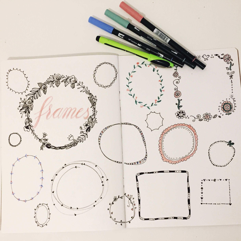 Handlettering Rahmen Zeichnen Mit Einfachen Varianten Bilderrahmen Malen Handlettering Rahmen