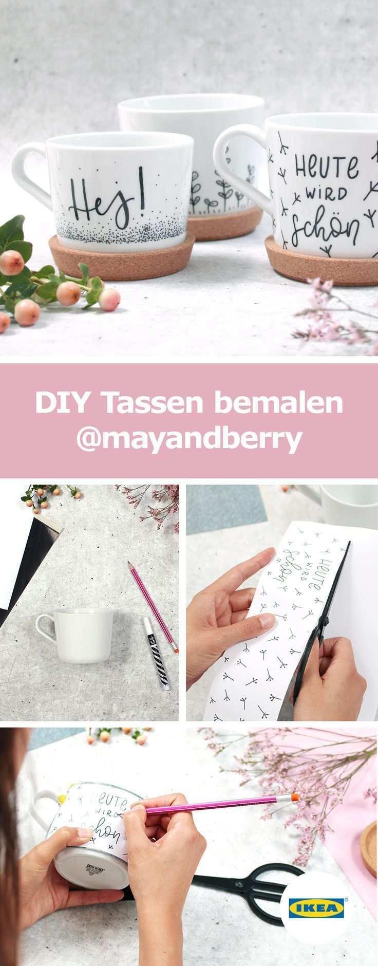 Ikea Deutschland Wie Du Diese Wunderschonen Tassen Motive Selbst Umsetzen Kannst Zeigen Dir Mayandberry Tasse Gestalten Tassen Bemalen Ikea Diy