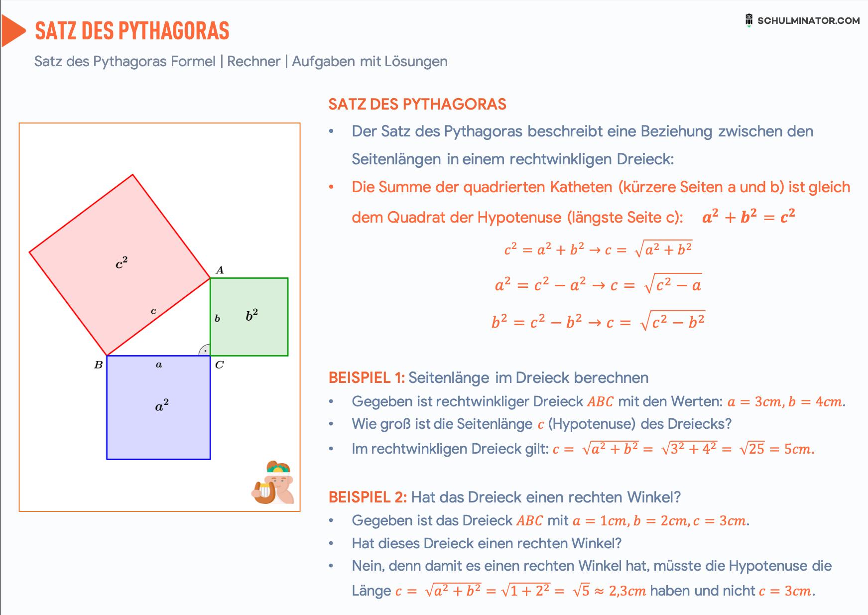 Satz Des Pythagoras Formel Anwendung Satz Des Pythagoras Lernen Tipps Schule Mathe Formeln