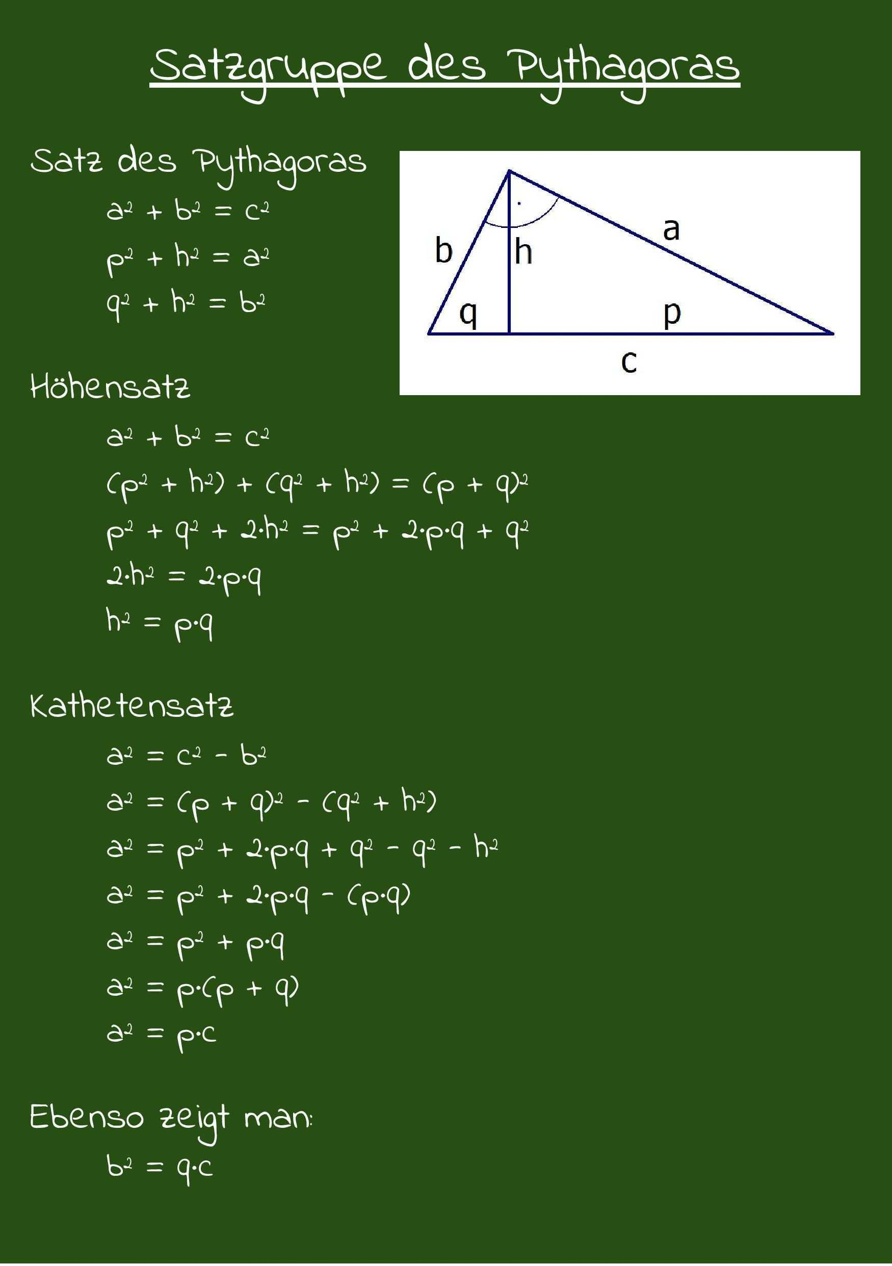 Satzgruppe Des Pythagoras Satz Des Pythagoras Hohensatz Kathetensatz Satz Des Pythagoras Nachhilfe Mathe Mathe Formeln