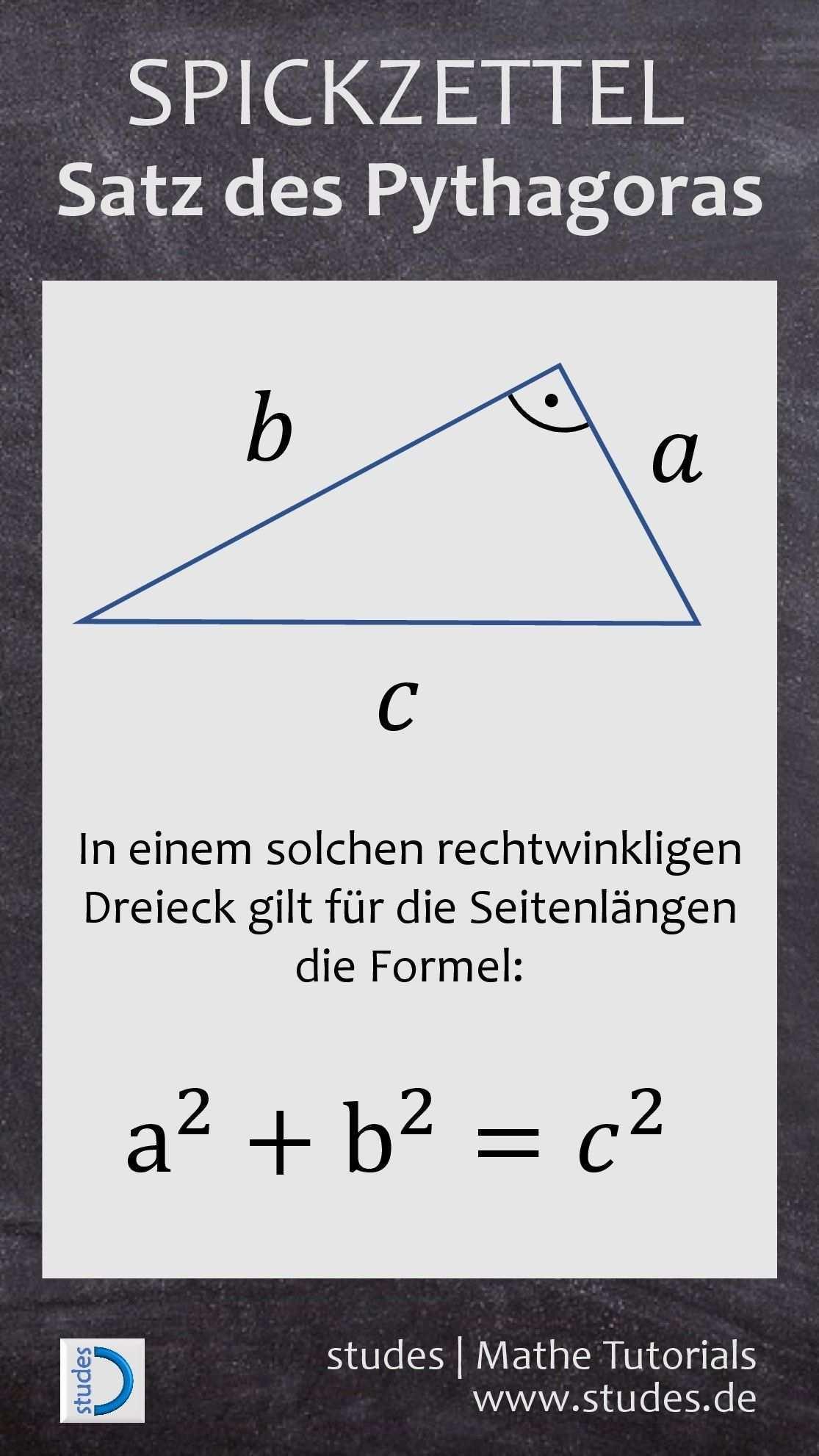 Spickzettel Studes Satz Des Pythagoras Nachhilfe Mathe Mathe Formeln