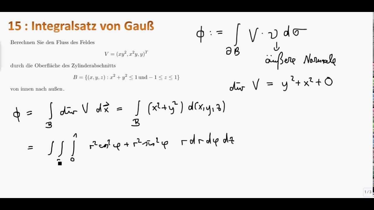 Mathe Ii 15 Integralsatz Von Gauss Youtube