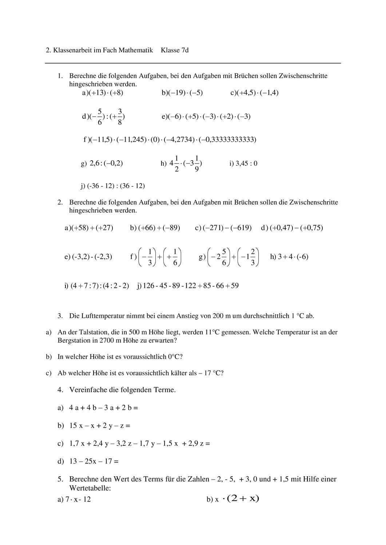 Klassenarbeit Zum Thema Rationale Zahlen Version A Und B Unterrichtsmaterial Im Fach Mathematik Klassenarbeiten Rationale Zahlen Mathematikunterricht