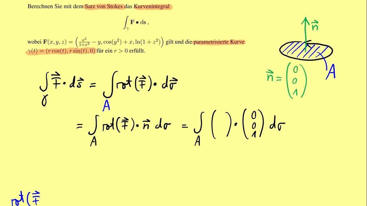 Aufgabe Zum Satz Von Stokes Vektoranalysis Teil 25 Youtube