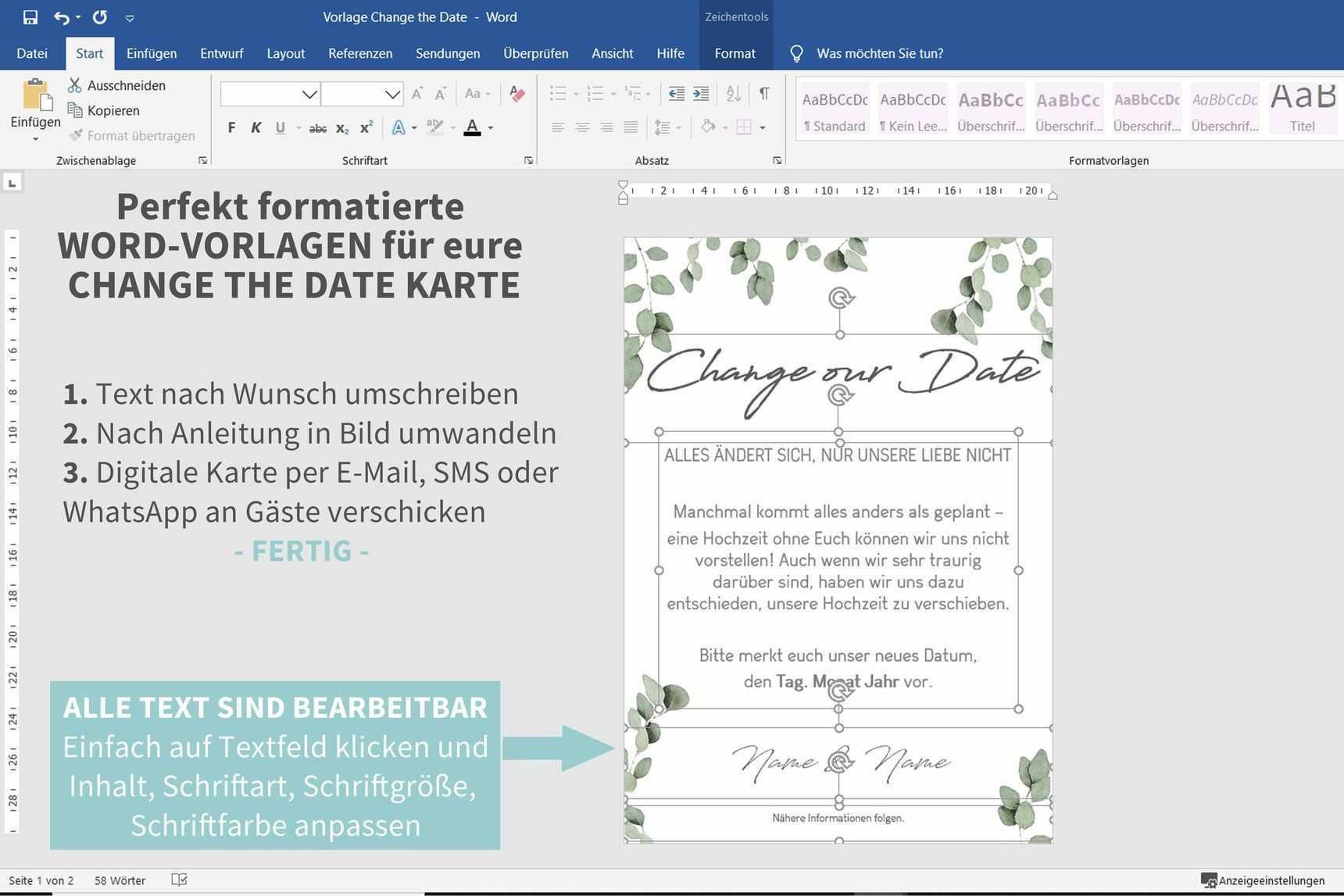 Jetzt Word Vorlage Herunterladen Und Digitale Change The Date Karte Selbermac Change D In 2020 Map Journal