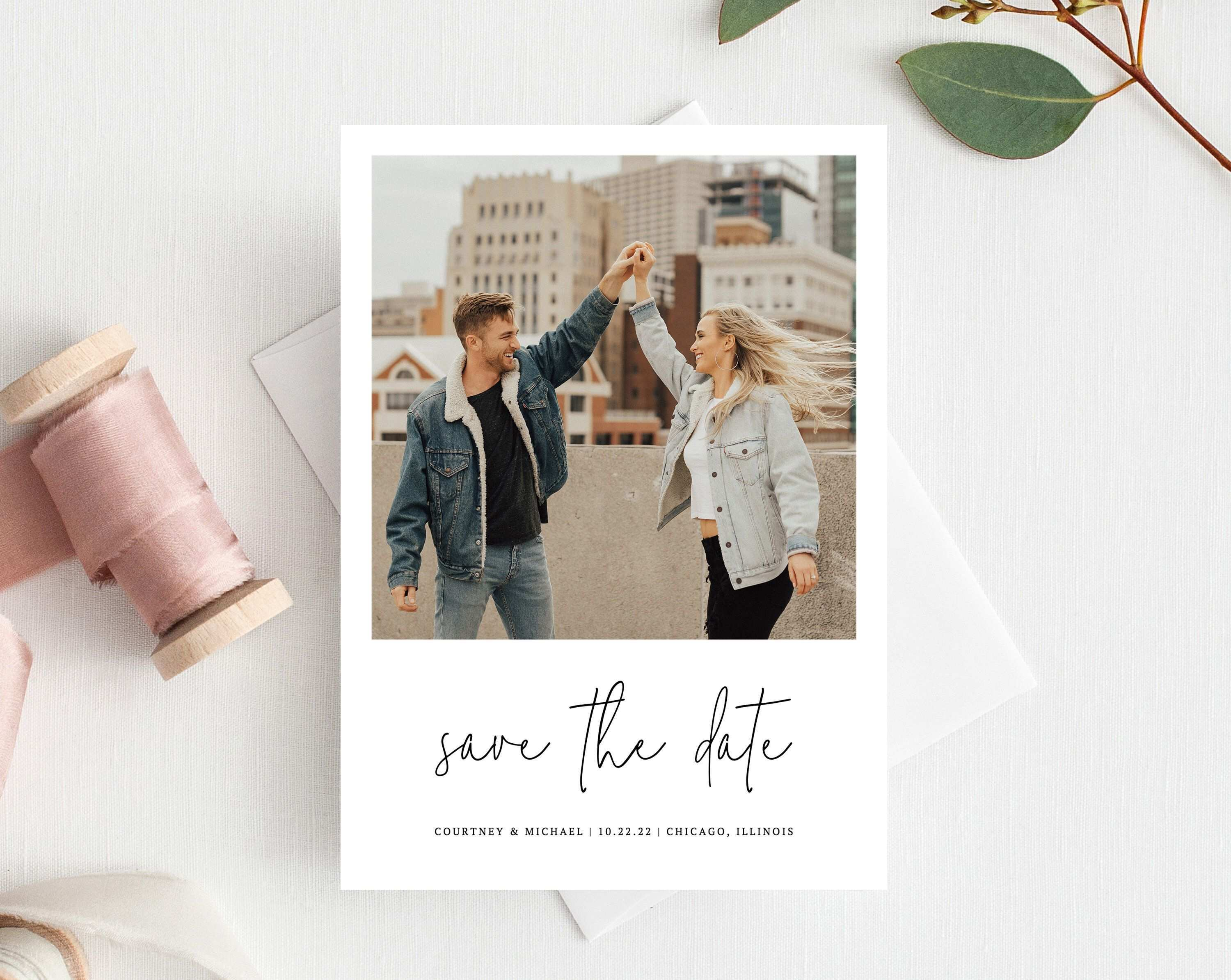 Polaroid Save The Date Save The Date With Pictures Template Printable Save The Date Card Wedding Invitations With Pictures Wedding Saving Save The Date Cards