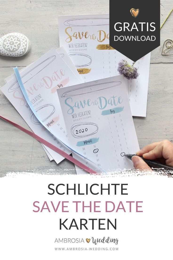 Freebie Schlichte Save The Date Karten Zum Selbst Ausdrucken En 2020