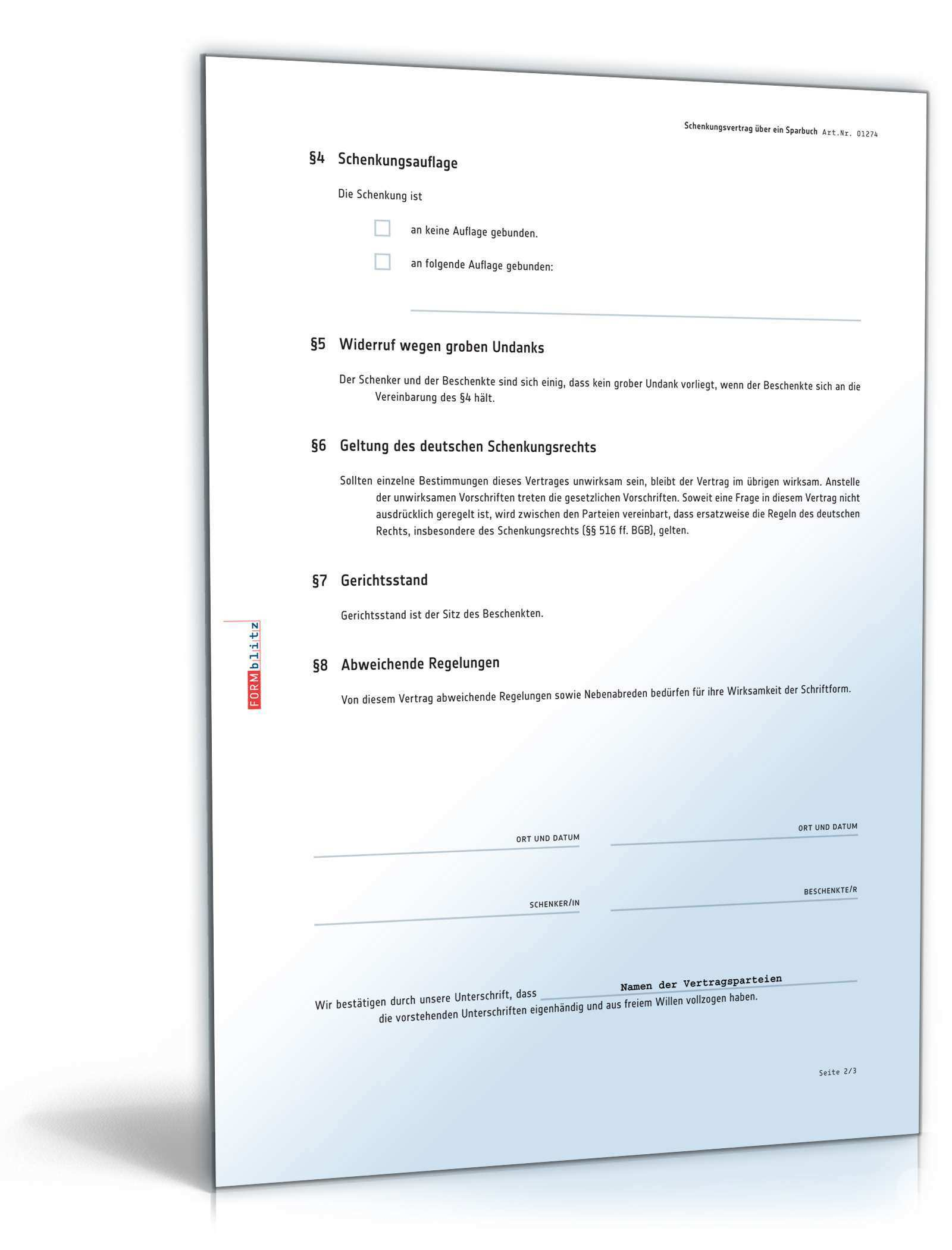 Schenkungsvertrag Sparbuch Rechtssicheres Muster Zum Download